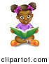 Vector Illustration of a Happy Black Girl Sitting on the Floor and Reading a Story Book by AtStockIllustration