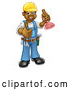 Vector Illustration of a Happy Black Male Plumber Posing with a Plunger and Giving a Thumb up by AtStockIllustration