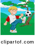 Vector Illustration of a Happy Blond Boy Kicking a Soccer Ball by AtStockIllustration