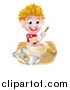 Vector Illustration of a Happy Blond Caucasian Boy Making Frosting and Baking Cookies by AtStockIllustration