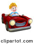 Vector Illustration of a Happy Blond White Boy Driving a Red Convertible Car by AtStockIllustration