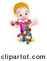 Vector Illustration of a Happy Blond White Girl Playing with Toy Blocks by AtStockIllustration