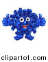 Vector Illustration of a Happy Blue Virus or Monster Giving Two Thumbs up by AtStockIllustration