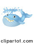 Vector Illustration of a Happy Blue Whale Spouting Water by AtStockIllustration