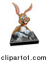 Vector Illustration of a Happy Brown Bunny Rabbit Dj over a Turntable by AtStockIllustration