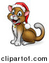 Vector Illustration of a Happy Brown Cat Wearing a Christmas Santa Hat, Sitting and Facing Left by AtStockIllustration