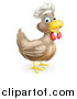 Vector Illustration of a Happy Brown Chicken Chef Facing Right by AtStockIllustration
