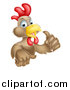 Vector Illustration of a Happy Brown Chicken or Rooster Holding up a Thumb by AtStockIllustration