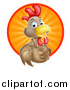 Vector Illustration of a Happy Brown Chicken or Rooster Mascot Giving a Thumb up and Emerging from a Sun Ray Circle by AtStockIllustration