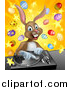 Vector Illustration of a Happy Brown Easter Bunny Rabbit Dj over a Turntable Against a Burst of Objects by AtStockIllustration
