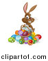 Vector Illustration of a Happy Brown Easter Bunny Rabbit with a Basket and Eggs by AtStockIllustration