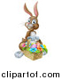 Vector Illustration of a Happy Brown Easter Bunny Rabbit with a Basket of Eggs and Flowers by AtStockIllustration