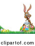 Vector Illustration of a Happy Brown Easter Bunny Rabbit with a Basket of Eggs and Flowers in the Grass, with White Text Space by AtStockIllustration
