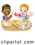 Vector Illustration of a Happy Cartoon Black Boy with White Girl Baking Cookies Together by AtStockIllustration