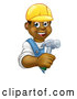 Vector Illustration of a Happy Cartoon Black Male Worker Carrying a Hammer Around a Blank Sign by AtStockIllustration