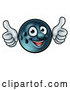 Vector Illustration of a Happy Cartoon Bowling Ball Mascot Giving Two Thumbs up by AtStockIllustration