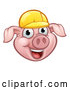 Vector Illustration of a Happy Cartoon Pig Mascot Wearing a Bright Yellow Hard Hat by AtStockIllustration