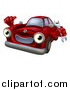 Vector Illustration of a Happy Cartoon Red Car Character Holding a Wrench and Thumb up by AtStockIllustration