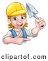 Vector Illustration of a Happy Cartoon White Female Mason with a Trowel While Proudly Pointing Her Finger by AtStockIllustration