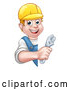 Vector Illustration of a Happy Cartoon White Male Plumber Using Adjustable Wrench Around a Blank Sign by AtStockIllustration