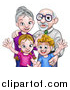 Vector Illustration of a Happy Caucasian Boy and Girl with Their Grandparents by AtStockIllustration