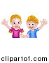 Vector Illustration of a Happy Caucasian Brother and Sister Waving by AtStockIllustration