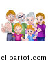 Vector Illustration of a Happy Caucasian Family with Children, Parents and Grandparents Waving and Giving Thumbs up by AtStockIllustration