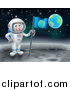 Vector Illustration of a Happy Caucasian Male Astronaut Holding a Flag on the Moon, Earth in the Background by AtStockIllustration