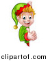 Vector Illustration of a Happy Caucasian Male Christmas Elf Giving a Thumb up Around a Sign by AtStockIllustration