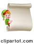 Vector Illustration of a Happy Caucasian Male Christmas Elf Pointing Around a Blank Scroll Sign by AtStockIllustration