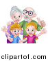 Vector Illustration of a Happy Caucasian Senior Man and Woman with Their Grandchildren by AtStockIllustration