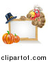 Vector Illustration of a Happy Chef Thanksgiving Turkey Bird Giving a Thumb up over a Pumpkin, Blank White Board Sign and Pilgrim Hat by AtStockIllustration