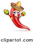 Vector Illustration of a Happy Chile Pepper Mascot Character Playing Maracas and Wearing a Sombrero, Celebrating Cinco De Mayo by AtStockIllustration