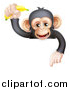 Vector Illustration of a Happy Chimpanzee Monkey Holding up a Banana and Pointing down over a Sign by AtStockIllustration