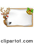 Vector Illustration of a Happy Christmas Reindeer Pointing Around a Sign Board with Bells by AtStockIllustration