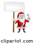 Vector Illustration of a Happy Christmas Santa Claus Carpenter Holding a Hammer and Blank Sign 2 by AtStockIllustration