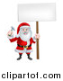 Vector Illustration of a Happy Christmas Santa Claus Carpenter Holding a Hammer and Blank Sign 4 by AtStockIllustration