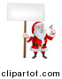 Vector Illustration of a Happy Christmas Santa Claus Carpenter Holding a Hammer and Blank Sign by AtStockIllustration