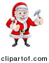 Vector Illustration of a Happy Christmas Santa Claus Carpenter Holding a Hammer and Giving a Thumb up by AtStockIllustration