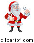 Vector Illustration of a Happy Christmas Santa Claus Holding a Wrench and Giving a Thumb up by AtStockIllustration
