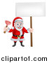 Vector Illustration of a Happy Christmas Santa Claus Plumber Holding a Plunger and Blank Sign 3 by AtStockIllustration