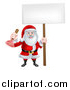 Vector Illustration of a Happy Christmas Santa Claus Plumber Holding a Plunger and Blank Sign 4 by AtStockIllustration