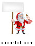 Vector Illustration of a Happy Christmas Santa Claus Plumber Holding a Plunger and Blank Sign by AtStockIllustration