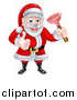 Vector Illustration of a Happy Christmas Santa Claus Plumber Holding a Plunger and Giving a Thumb up 4 by AtStockIllustration