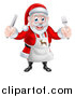 Vector Illustration of a Happy Christmas Santa Claus Wearing an Apron and Holding Silverware 2 by AtStockIllustration