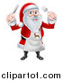 Vector Illustration of a Happy Christmas Santa Claus Wearing an Apron and Holding Silverware by AtStockIllustration