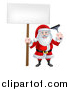 Vector Illustration of a Happy Christmas Santa Claus Window Washer Holding a Blank Sign and Squeegee by AtStockIllustration