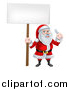 Vector Illustration of a Happy Christmas Santa Holding a Spanner Wrench and Blank Sign 4 by AtStockIllustration