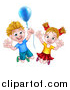 Vector Illustration of a Happy Excited Blond Caucasian Boy and Girl Jumping with a Party Balloon by AtStockIllustration