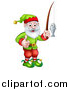 Vector Illustration of a Happy Garden Gnome or Christmas Elf Giving a Thumb up and Fishing by AtStockIllustration